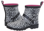 Capelli New York Leopard Printed Ladies Short Rubber Rain Boots