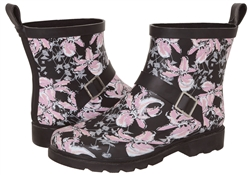 Capelli New York Ladies Floral Printed Short Rain Boot Black Combo