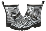 Capelli New York Ladies Shiny Houndstooth Collage Printed Short Sporty Lined Rainboot