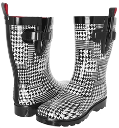 Capelli New York Ladies Houndstooth Printed Mid- Calf Rain Boot White Combo