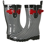 Capelli New York Ladies Shiny Chevron Printed Mid-Calf Rain Boot