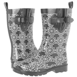 Capelli New York Ladies Pinwheel Geo Pattern Mid Calf Rubber Rain Boot