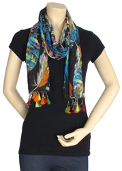 Capelli New York Exotic Feather Printed Scarf With Bead And Pom Detai