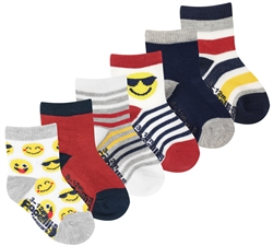 Capelli New York Infant Boys 6 Pack Emoji Print Sock with Grippers