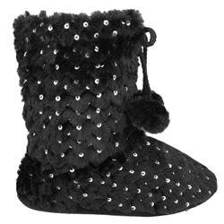Capelli New York Long Pile Bunny Slipper Bootie With Tie And Pom Trim Ladies Indoor Slipper