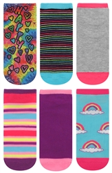 Capelli New York Girls Happy Printed No Show Socks
