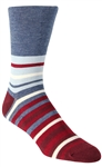 Stith Men's Red White & Blue Stripes Printed Dress Socks