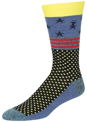 STITH Men's Stars Stripes and Dots Print Crew Socks with Marled Yarn