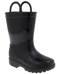 Capelli New York Shiny Solid Opaque With Handles Toddler Boys Casual Body Jelly Rain Boot
