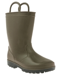 Capelli New York Shiny Solid Opaque Toddler Boys Rain Boot Flannel Green 4/5