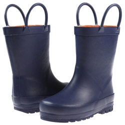 Capelli New York Handles & Contrast Toddler Boys Rubber Rain Boot Navy