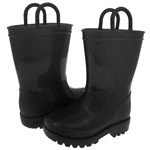 Capelli New York Toddler Girls Allover Glitter Rain Boot Black 4/5