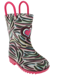 Capelli New York Shiny Techno Zebra Printed Toddler Girls Jelly Rain Boots