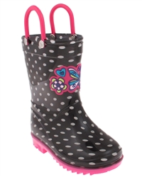 Capelli New York Shiny Polka Dot Printed and Love Butterfly Jelly Applique Toddler Girls Jelly Rain Boots