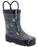 Capelli New York Shiny Sketchy Pop Owls Print Toddler Girls Rain Boots