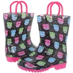 Capelli New York Toddler Girls Owl Printed Rain Boot