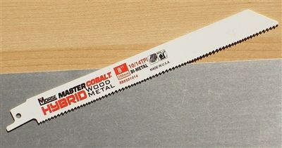 "MK Morse Master Cobalt® Hybrid 8"" 10/14 Heavy Duty Combination Wood & Metal Cutting Sawzall Reciprocating Saw Blade"