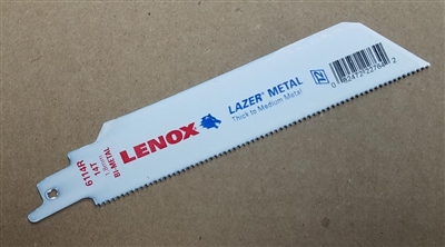 "Lenox 6"" - 14 TPI Lazer Metal Cutting Reciprocating Saw Blade"
