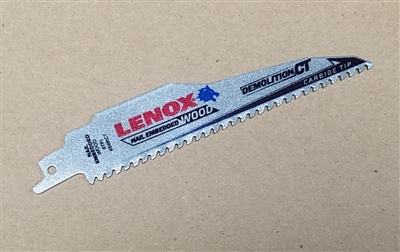 "Lenox 6"" 6RCT Heavy Duty Carbide Tipped Wood Cutting Sawzall Reciprocating Saw Blade"