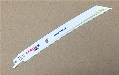 "Lenox Gold Power Arc 8"" - 10 TPI Heavy Duty Metal & Wood Cutting Reciprocating Saw Blade"