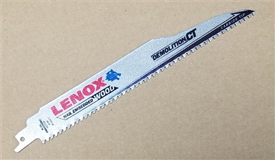 "Lenox 956RCT 9"" - 6 TPI Heavy Duty Carbide Tipped Wood Cutting Reciprocating Saw Blade"