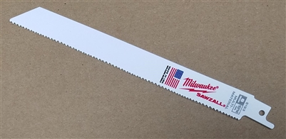 "Milwaukee Sawzall Blade - 8"" - 10/14 TPI Wood & Metal Cutting Reciprocating Saw Blade"