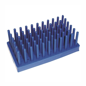 50 Place, 14/17mm Peg Test Tube Rack, PP Plastic, Blue, Karter Scientific 400U2 (Each)