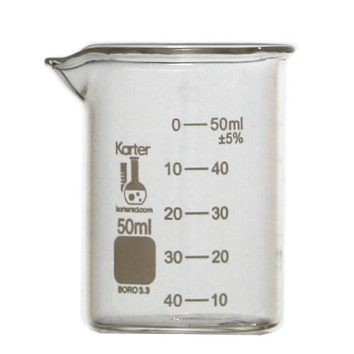 50ml glass beaker low form karter scientific