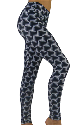 Women's Yoga Pants - Illusion Cubes Leggings
