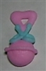 Royal Icing Baby Rattle (Large) - Pink w/ Blue Ribbon