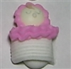 Royal Icing Sleeping Baby In Blanket (Large) - White w/ Pink