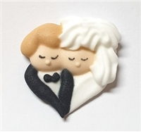 Royal Icing Bride & Groom In Heart Shape- Caucasian