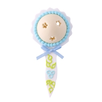 Large Baby Rattle - White With Blue