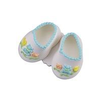 Large Baby Booties - White With Blue