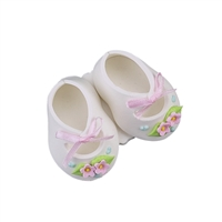 Large Baby Booties - White With Pink