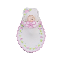 Medium Baby In A Blanket - White With Pink