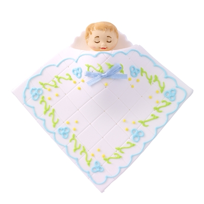 Large Baby In A Blanket - White With Blue