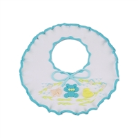 Large Baby Bib - White With Blue