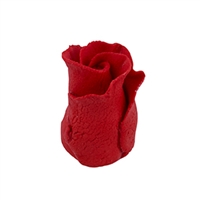 Gum Paste Formal Rosebud On A Wire - Red