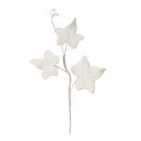 3 Leaf Gum Paste Ivy Leaf Spray  - White