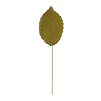 Gum Paste Large Rose Leaf On A Wire - Assorted Shades Of Moss Green
