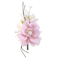 Gum Paste Wind Anemone Spray - Pink With White Filler Flowers