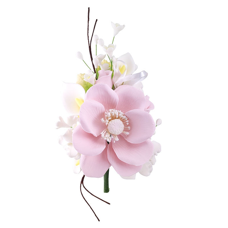 Gum Paste Wind Anemone Spray Pink With White Filler Flowers