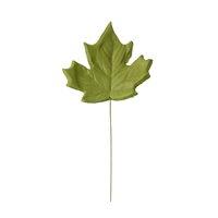 Large Gum Paste Maple Leaf On A Wire - Moss Green