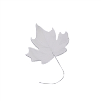 Large Gum Paste Maple Leaf On A Wire - White