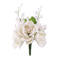 Gum Paste Peony And Rose Spray - All White
