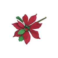 Small Gum Paste Deluxe Poinsettia - Red