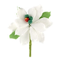 Small Gum Paste Deluxe Poinsettia - White