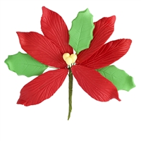 Large Gum Paste Poinsettia - Red