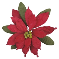Large Gum Paste Deluxe Poinsettia - Red